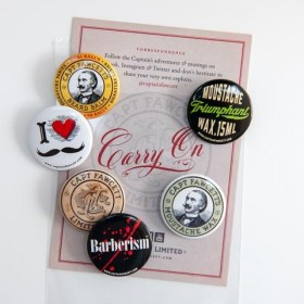 Captain Fawcett Tin Badges (pack of 6)