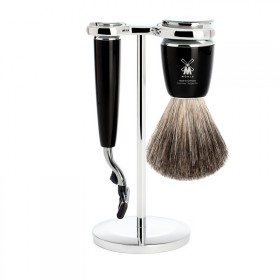 Muhle Rytmo Shaving Set Mach3 + Brush, Noir