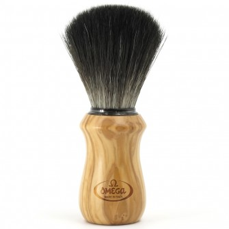 "Omega Shaving Brush ""Hi Brush"" Black Fibre Olive Wood"