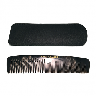 Cyril R Salter Double Tooth Comb with Pouch Genuine Horn
