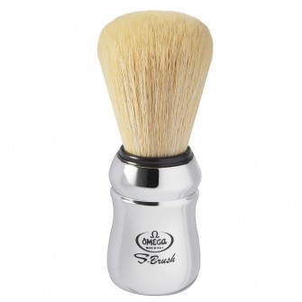 Omega S-Brush Chrome Synthetic Shaving Brush