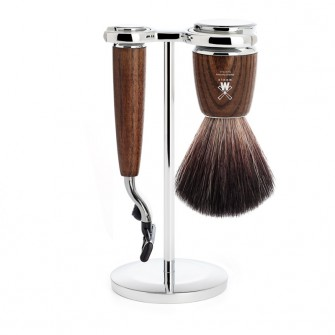 Muhle Rytmo Shaving Set Mach3 + Fibre Brush, Ash
