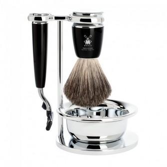 Mühle Rytmo Shaving Set Mach3 Razor + Brush + Bowl, Noir