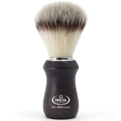 "Omega Shaving Brush ""Hi Brush"" Ash Wood Black"