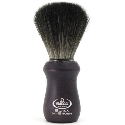 "Omega Shaving Brush ""Hi Brush"" Black Fibre Ash Wood"