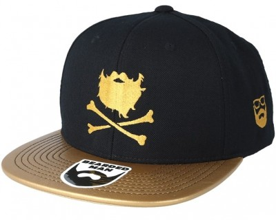 Bearded Man Apparel Bones Black/Gold Snapback