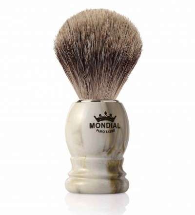 Mondial Basic Shaving Brush Fine Badger, Clear Marble