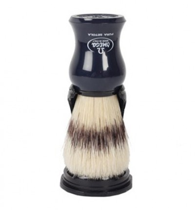 Omega Pure Bristle Shaving Brush with Stand, Navy