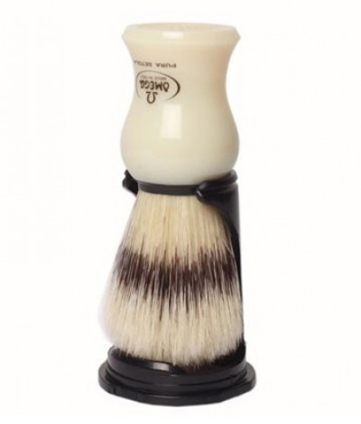 Omega Pure Bristle Shaving Brush with Stand, White