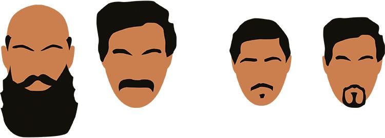 skäggfrisyt till stort respektive litet ansikte